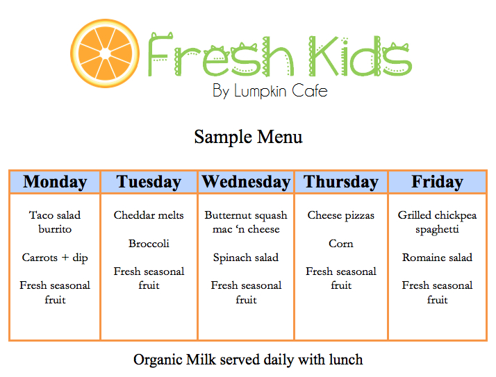 Weekly Lunch Menu Sample  Lifespan Montessori Of Athens